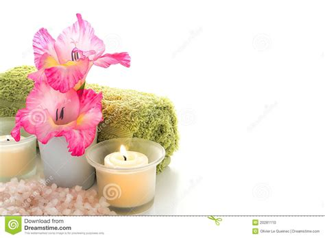 fiori day spa flowers and votive candles in an aromatherapy spa stock