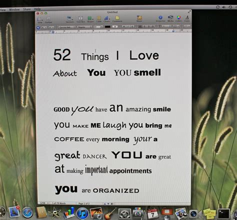 52 things i love about you template image collections