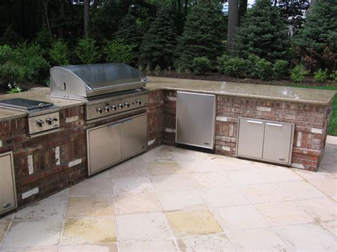 brick outdoor kitchen bbq outdoor kitchens nj built in grill fireplace design ideas