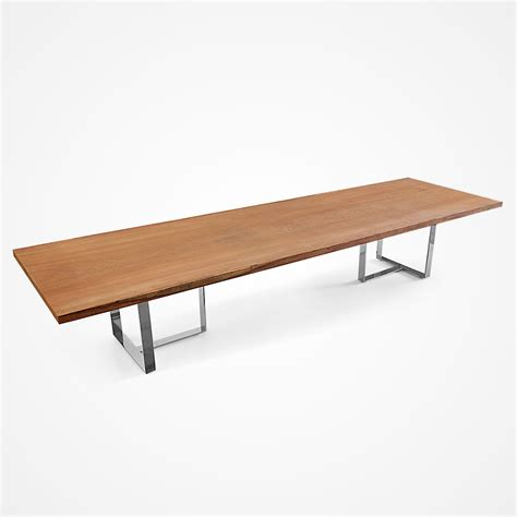 Single Slab Angelim Dining Table Stainless Steel Base Steel Dining Table Base