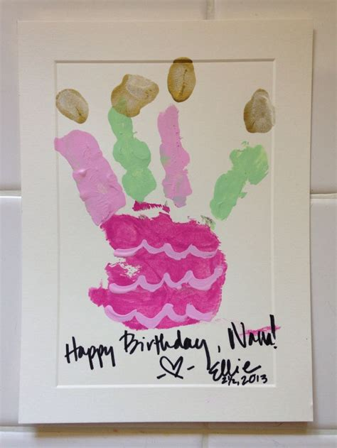 card handprint handprint cake birthday card for the grandparents