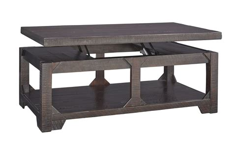 rogness lift top cocktail table in rustic brown by
