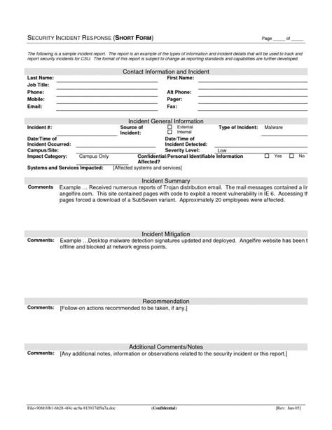it security incident report and general incident report