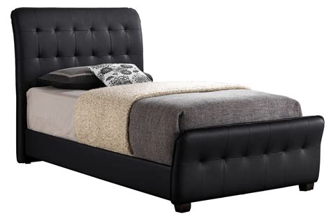 black upholstered bed glory furniture g2553 twin upholstered sleigh bed in black