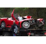 Wreck The Ruins Of A Ferrari Convertible Are Removed From