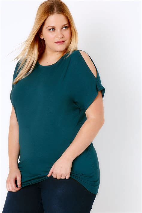 teal cold shoulder jersey top plus size 16 to 36