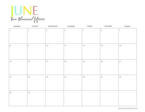 printable calendars june and july 2015 free 2015 printable calendar by shiningmom com fun and