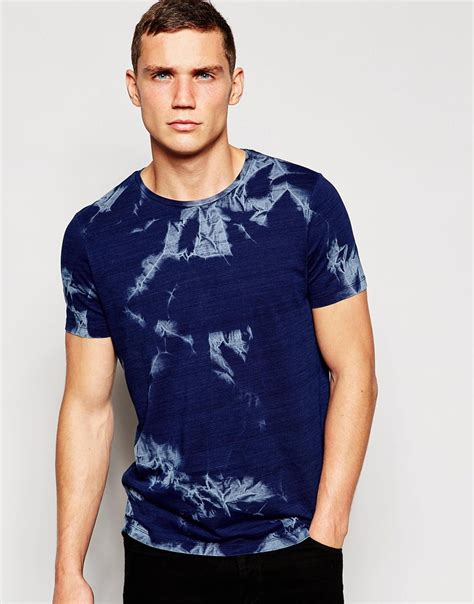 T Shirt Indigo lyst asos t shirt with indigo tie dye wash in blue for