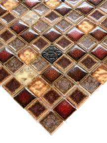 Mosaic Tiles Backsplash Kitchen red beige glass ceramic mosaic tile