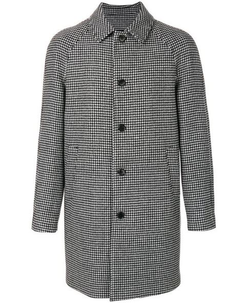 black and white coat pattern msgm houndstooth pattern coat in black for men lyst