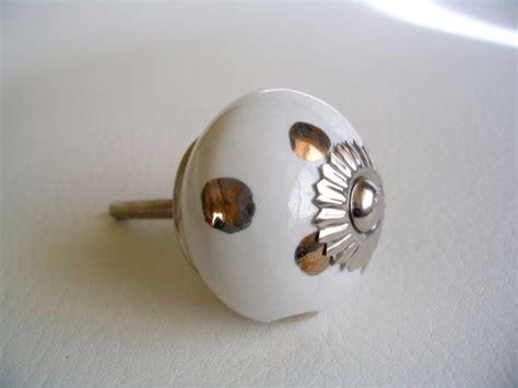 White Porcelain Drawer Pulls by Bronze Polka Dots Soft White Porcelain Drawer Pulls