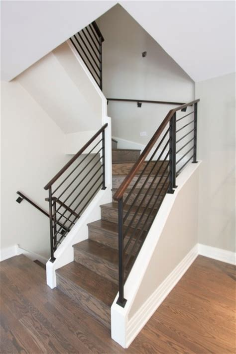 modern center island designs for kitchens railing stairs steel railings with walnut handrails modern staircase