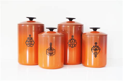 burnt orange west bend kitchen canisters by thewhitepepper