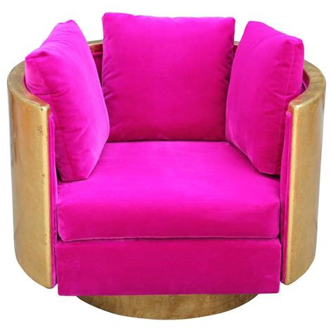 Ultra Glam Modern Gold Leaf And Hot Pink Velvet Swivel Pink Swivel Chair