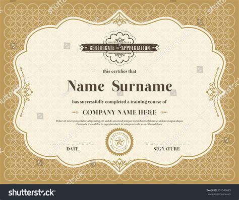 vintage certificate template vintage retro frame certificate background design stock