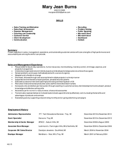 Retail Skills For Resume by 4 8 15 Resume Retail Experience