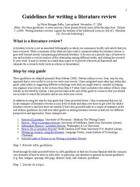 guidelines  writing  literature review literature review thesis
