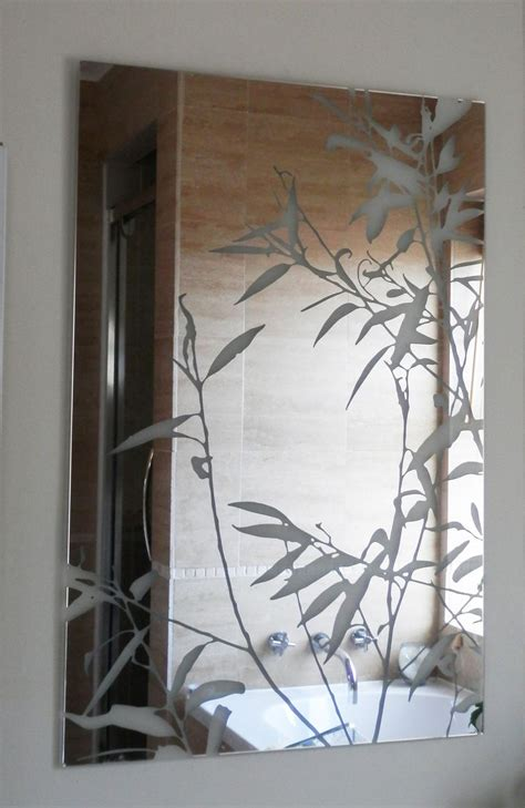 Etched Bathroom Mirrors Large Frameless Bathroom Mirror With Etched Willow Leaves Etched Glass Mirror Designs From