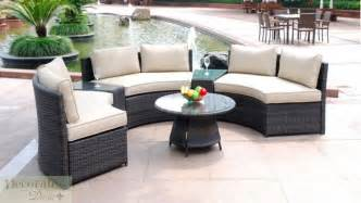 Curved Patio Sofa 6 Seat Curved Outdoor Patio Furniture Set Pe Wicker Rattan Sofa Lounge Table New Ebay
