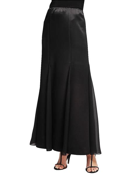 alex evenings fit flare chiffon trim maxi skirt in black
