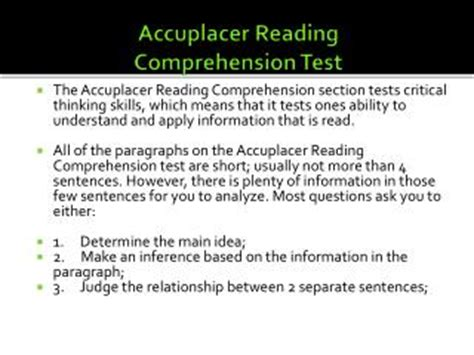 reading comprehension test accuplacer ppt accuplacer writing test powerpoint presentation id