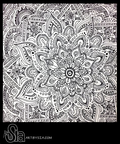 Original Zentangle Doodle Drawing Modern Abstract Pen