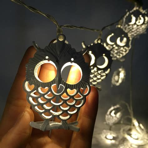 Battery Powered 1 2m 10leds Owl Shaped Indoor Fairy String Owl Lights