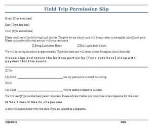 trip permission slip template free layout amp format