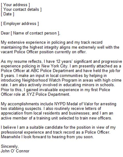 law enforcement cover letter sle
