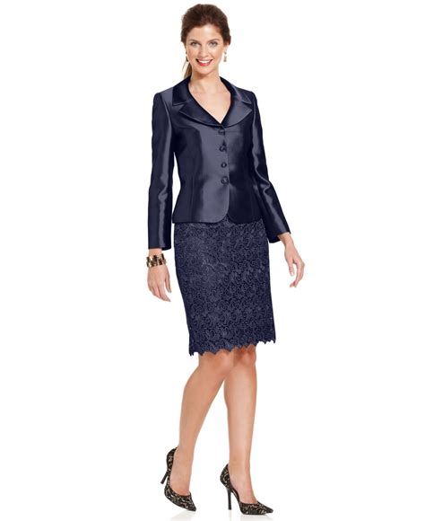tahari by asl three button metallic lace skirt suit in