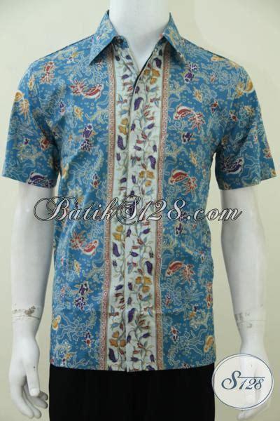 Batik Hem Ikan baju batik motif ikan warna biru bahan katun adem bagus berkualitas harga murah ld2387p m