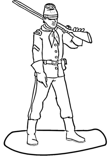 perfect soldier civil war coloring page with soldier