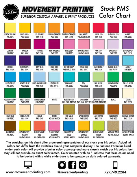 what is pms color pms color chart movement printing