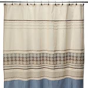 lyon blue and brown fabric shower curtain bed bath beyond