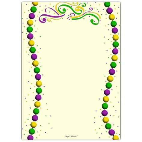 Mardi Gras Table Place Card Template by Beaded Mardi Gras Invitations Paperstyle