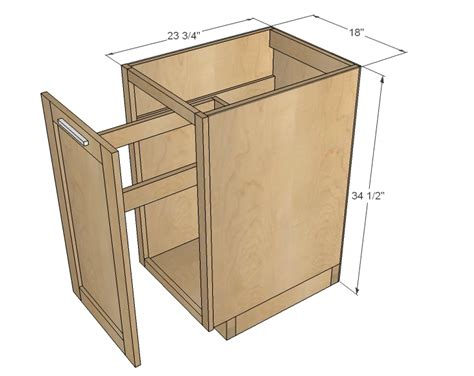 kitchen cabinet plans ana white 18 quot kitchen base cabinet trash pull out or