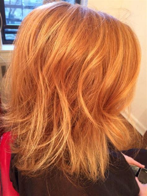 strawberry blonde with golden highlights olaplex