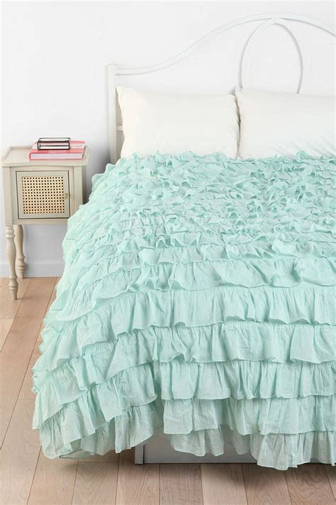 ruffled bed comforters love this bedding mint ruffle duvet uo bleu