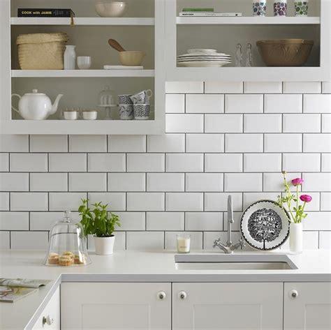 White Metro Tiles Kitchen floor tile white with white