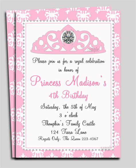princess invitation templates princess invitation printable or printed with by