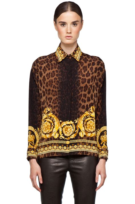 Blouse Leopard Gold 4 Versace Leopard Silk Blouse In Gold 1