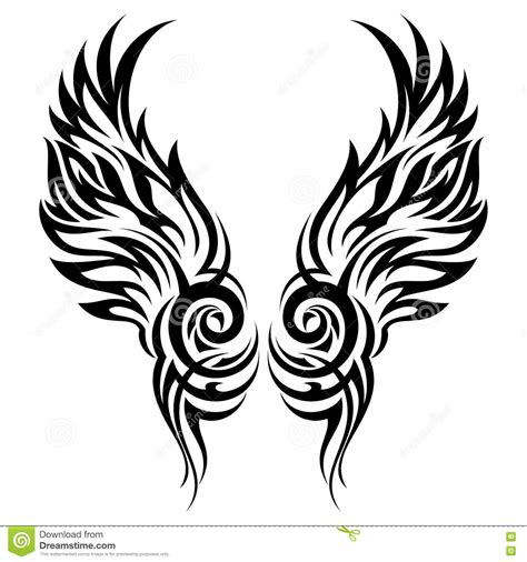 tribal tattoo vectorial flaming wings tribal stock vector illustration