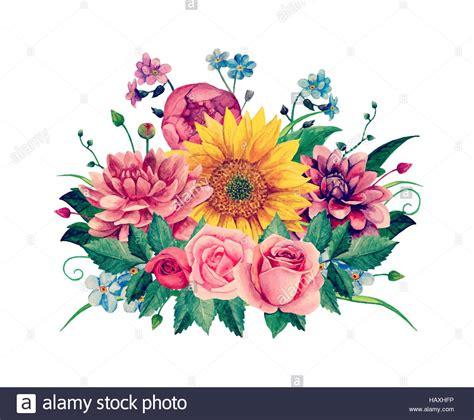 fiori clipart watercolor floral bouquet vector clipart handpainted