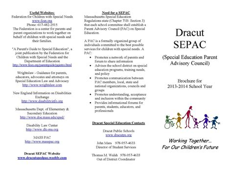 Brochure Dracut Special Education Parent Advisory Council Weebly Education Templates