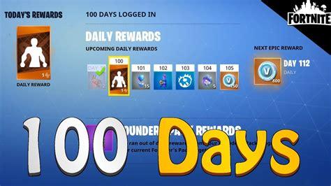 fortnite login fortnite rewards you get after logging in 100 days