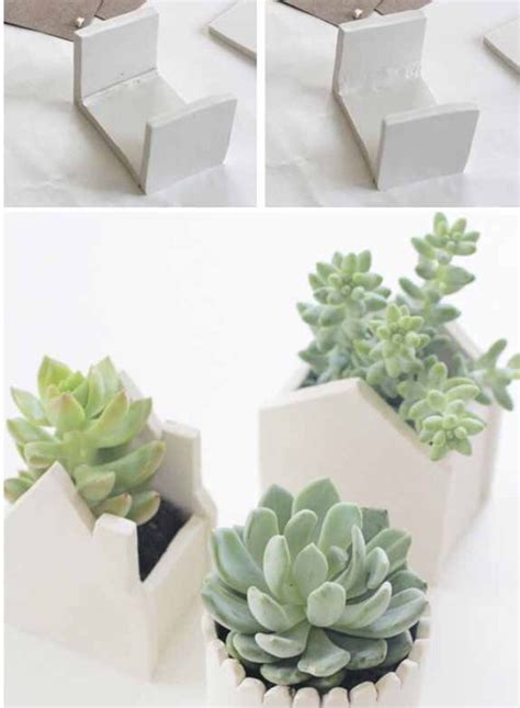 make modern succulent pots out of air dry clay garden
