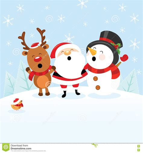 santa with snowman and reindeer stock vector image 78626184