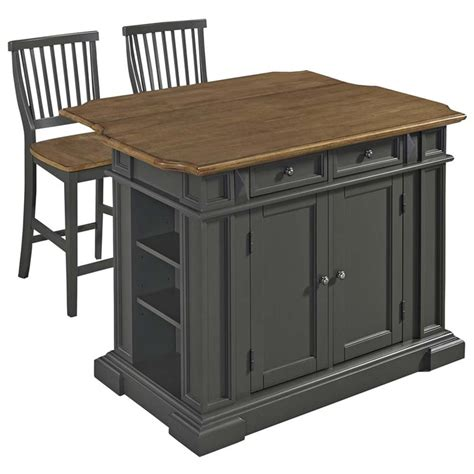 Americana Kitchen Island Home Styles Americana Kitchen Island With 2 Stools In Gray 5013 948