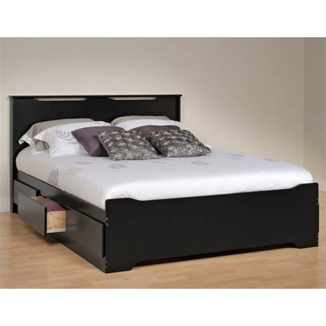 platform bed queen with storage prepac coal harbor queen platform storage w headboard