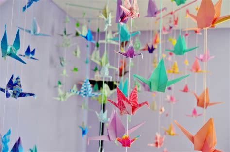 Hanging Origami - monthly diy hanging origami paper cranes citizen erased